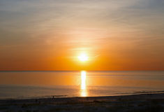 Sunset at the beach of Baltic Sea in Ventspils Royalty Free Stock Photo