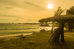 Sunset on beach Stock Images