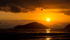 Kayak and sunset. Beautiful sunset at a breach in Brazil Stock Image