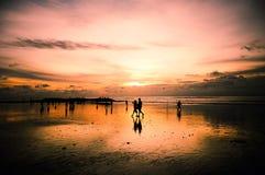 Sunset Beach. Beautiful Scenery of Sunset in Kuta Bali Royalty Free Stock Photos