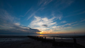 Sunset at the beach. Beautiful skies at sunset over a beach in Kent Royalty Free Stock Photos