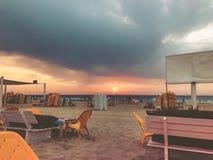 Sunset on the beach with beautiful sky. Sunrise on the beach royalty free stock photo