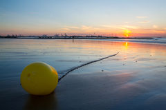 Sunset on a beach in Belgium. Stock Photo