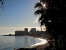 Sunset-Beach of Bil-Bil-Benalmadena-Malaga-Andalusia Royalty Free Stock Photo