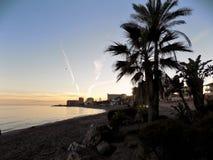 Sunset in Beach of Bil-Bil-Benalmadena-Malaga-Andalusia Royalty Free Stock Photography
