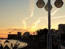 Sunset in Beach of Bil-Bil-Benalmadena-Malaga-Andalusia Royalty Free Stock Image