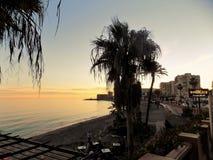 Sunset in Beach of Bil-Bil-Benalmadena-Malaga-Andalusia Stock Photos