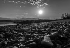 Sunset. On a beach in Black and white Royalty Free Stock Images