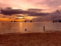 Sunset on the beach, Boracay island, philippines Stock Photography