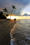 Sunset at a beach in Borneo, Sabah, Malaysia Royalty Free Stock Images
