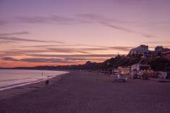 Sunset on the beach in Bournemouth, Dorset, UK. Stock Photos