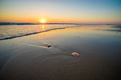 Sunset at beach in cadiz Spain stock images