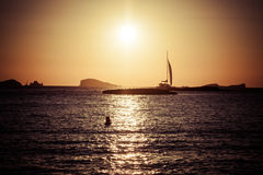 Sunset at the beach (cala conta),Ibiza,Spain Royalty Free Stock Image