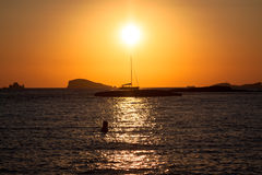 Sunset at the beach (cala conta),Ibiza,Spain Royalty Free Stock Photos