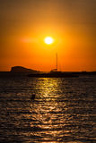 Sunset at the beach (cala conta),Ibiza,Spain Royalty Free Stock Images
