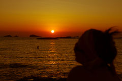 Sunset at the beach (cala conta),Ibiza,Spain Stock Image