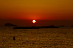Sunset at the beach (cala conta),Ibiza,Spain Stock Images