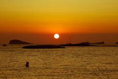Sunset at the beach (cala conta),Ibiza,Spain Stock Photography