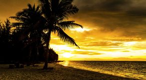 Sunset on the beach of Caribbean sea Stock Photos
