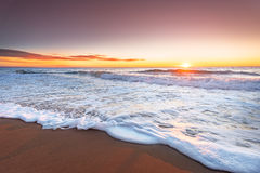 Sunset on the beach. Of caribbean sea Royalty Free Stock Image