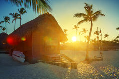Sunset on the beach of Caribbean sea, Dominican Republic Stock Photography