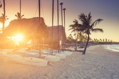 Sunset on the beach of Caribbean sea. Dominican Republic Royalty Free Stock Photography