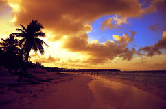 Sunset on the beach of Caribbean sea, Dominican Republic. Dramatic sunset on the beach of Caribbean sea, Dominican Republic Stock Photography