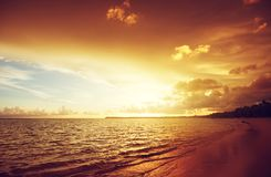 Sunset on the beach of caribbean sea. Africa Royalty Free Stock Photos
