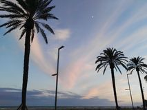 Sunset beach in Castelldefels spain cataluña. Pink and blue sky cielo rosado Royalty Free Stock Images