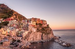 Sunset by the Beach: Cinque Terre Beauty royalty free stock images