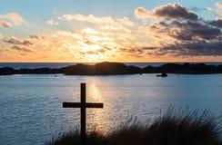 Sunset Beach Cross Lake Royalty Free Stock Image