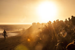 Sunset Beach Crowd Royalty Free Stock Image