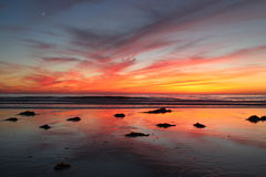 Sunset at the Beach. Sunset at the Del Mar, California Dog Beach Royalty Free Stock Photography