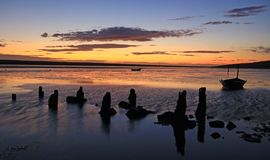 Sunset beach dorset Royalty Free Stock Photography
