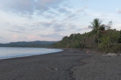 Sunset on the beach of Drake in Costa Rica Royalty Free Stock Photos