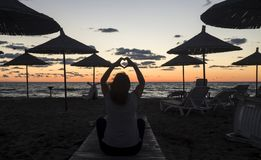 Sunset on the beach in Albania Stock Images
