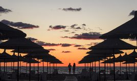 Sunset on the beach in Albania Royalty Free Stock Photography