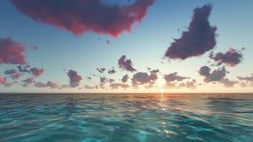 Sunset on the beach dusk sea.  stock footage