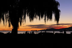 Sunset at beach, english bay Stock Image