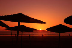 Sunset on the beach in Essaouria Stock Photo