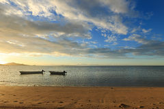 Sunset Beach. In Fiji with clouds Royalty Free Stock Images