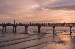 Sunset in the beach of Fort Myers stock photos