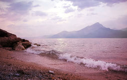 Sunset beach garda lake Stock Photography