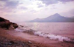 Sunset beach garda lake Stock Photography