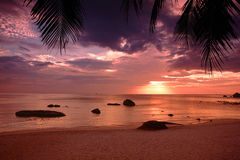 Sunset on the beach of Gulf of Thailand Stock Images