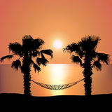 Sunset on the Beach on Hammock Royalty Free Stock Photos