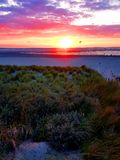 Sunset at the beach, Holland/Netherlands. Near Kijkduin Stock Photos