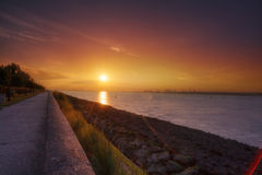 Sunset beach. Beach sunset at honfleur, normandy france Stock Photography