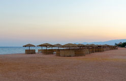 Sunset on the beach of hotel in Egypt Royalty Free Stock Photos