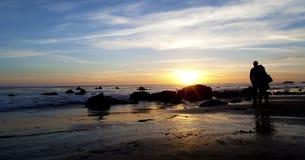 Sunset Beach Hug. Sunset at the El Matador Beach, LA, USA Royalty Free Stock Images